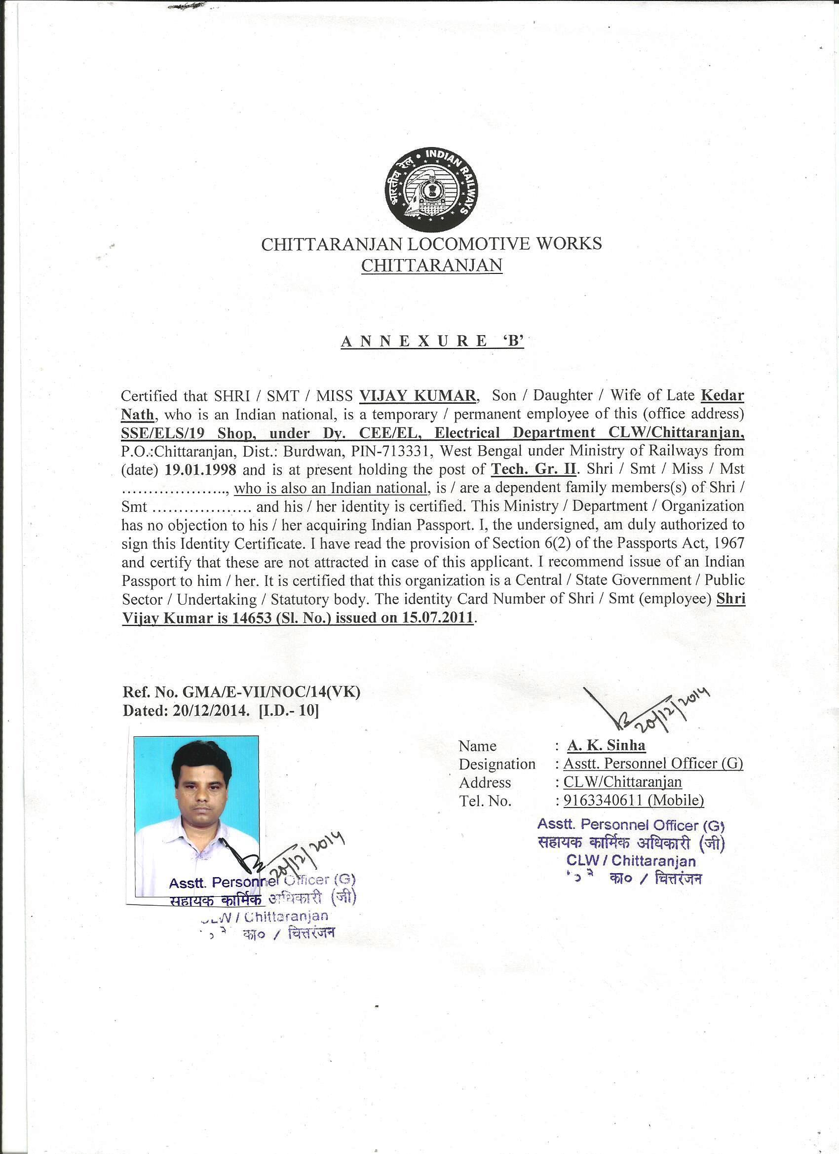 shri vijay kumar technician grii under sseels 19